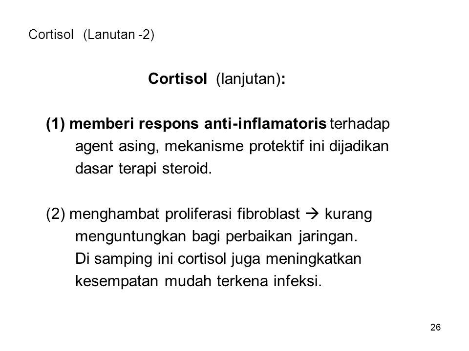 26 Cortisol (Lanutan -2) Cortisol (lanjutan): (1) memberi respons anti-inflamatoris terhadap agent asing, mekanisme protektif ini dijadikan dasar tera