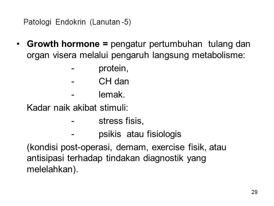 29 Patologi Endokrin (Lanutan -5) Growth hormone = pengatur pertumbuhan tulang dan organ visera melalui pengaruh langsung metabolisme: -protein, -CH d