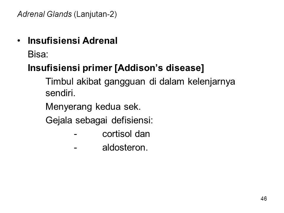 46 Adrenal Glands (Lanjutan-2) Insufisiensi Adrenal Bisa: Insufisiensi primer [Addison's disease] Timbul akibat gangguan di dalam kelenjarnya sendiri.