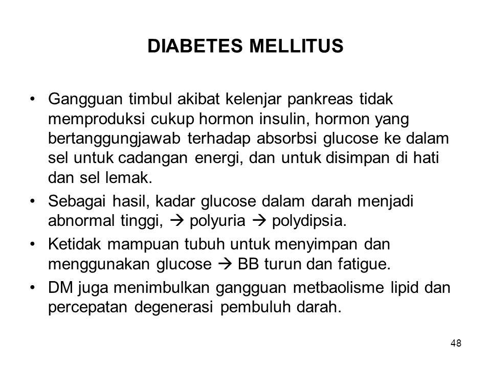 48 DIABETES MELLITUS Gangguan timbul akibat kelenjar pankreas tidak memproduksi cukup hormon insulin, hormon yang bertanggungjawab terhadap absorbsi g