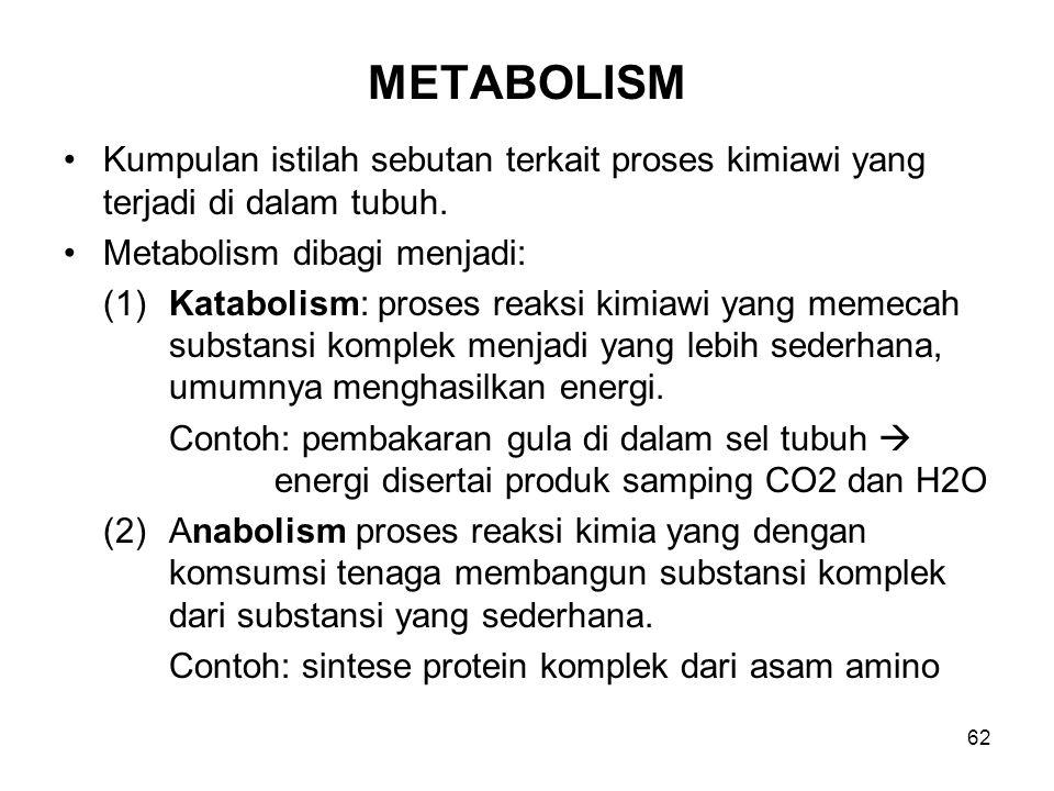 62 METABOLISM Kumpulan istilah sebutan terkait proses kimiawi yang terjadi di dalam tubuh. Metabolism dibagi menjadi: (1)Katabolism: proses reaksi kim