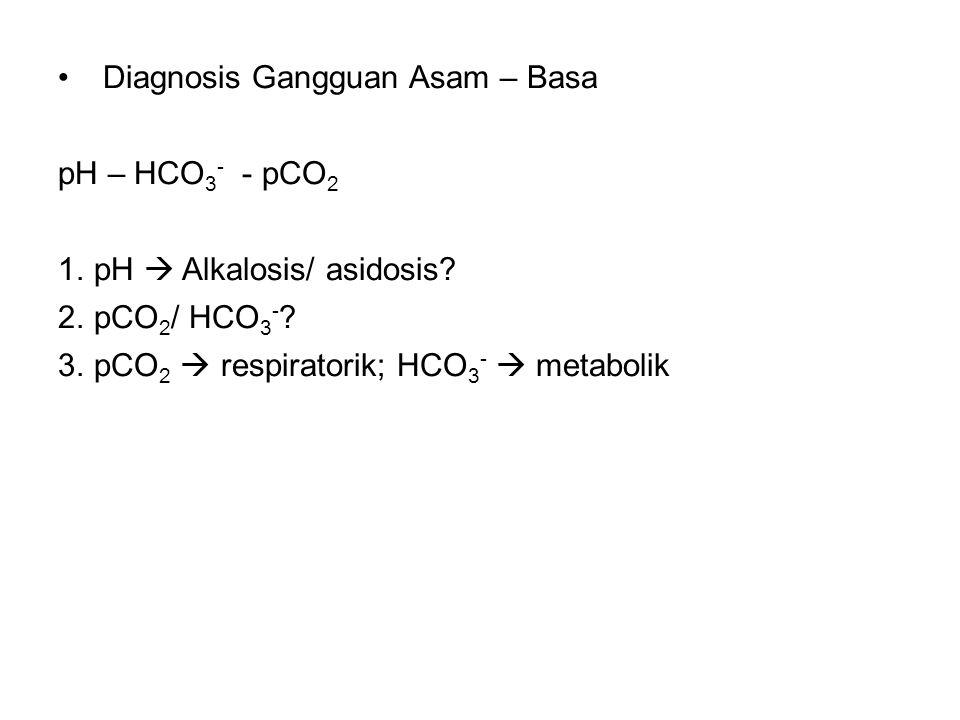 Diagnosis Gangguan Asam – Basa pH – HCO 3 - - pCO 2 1.pH  Alkalosis/ asidosis.
