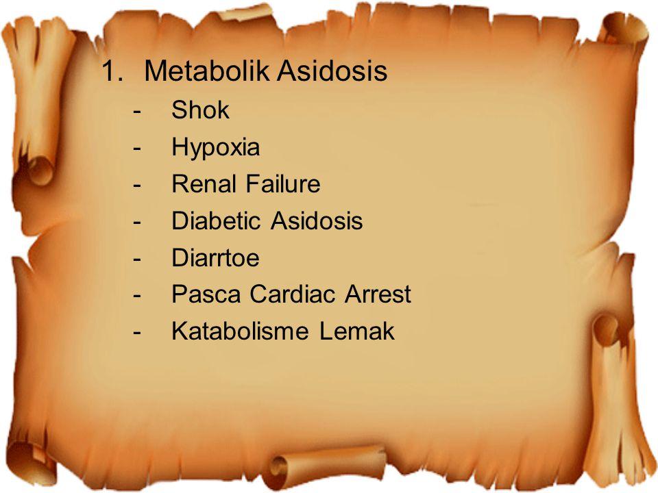 1.Metabolik Asidosis -Shok -Hypoxia -Renal Failure -Diabetic Asidosis -Diarrtoe -Pasca Cardiac Arrest -Katabolisme Lemak