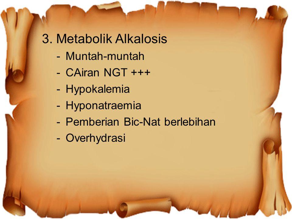 3. Metabolik Alkalosis -Muntah-muntah -CAiran NGT +++ -Hypokalemia -Hyponatraemia -Pemberian Bic-Nat berlebihan -Overhydrasi
