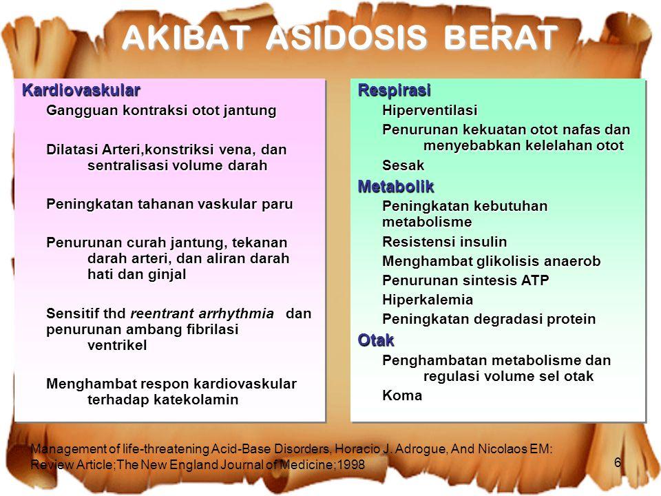 6 RespirasiHiperventilasi Penurunan kekuatan otot nafas dan menyebabkan kelelahan otot SesakMetabolik Peningkatan kebutuhan metabolisme Resistensi ins