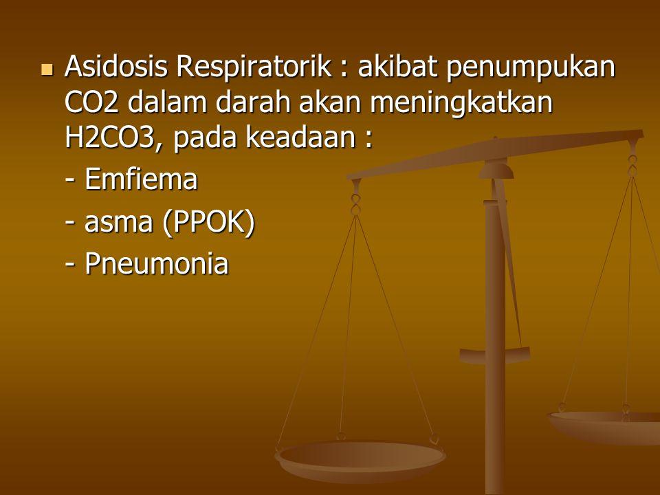 Asidosis Respiratorik : akibat penumpukan CO2 dalam darah akan meningkatkan H2CO3, pada keadaan : Asidosis Respiratorik : akibat penumpukan CO2 dalam