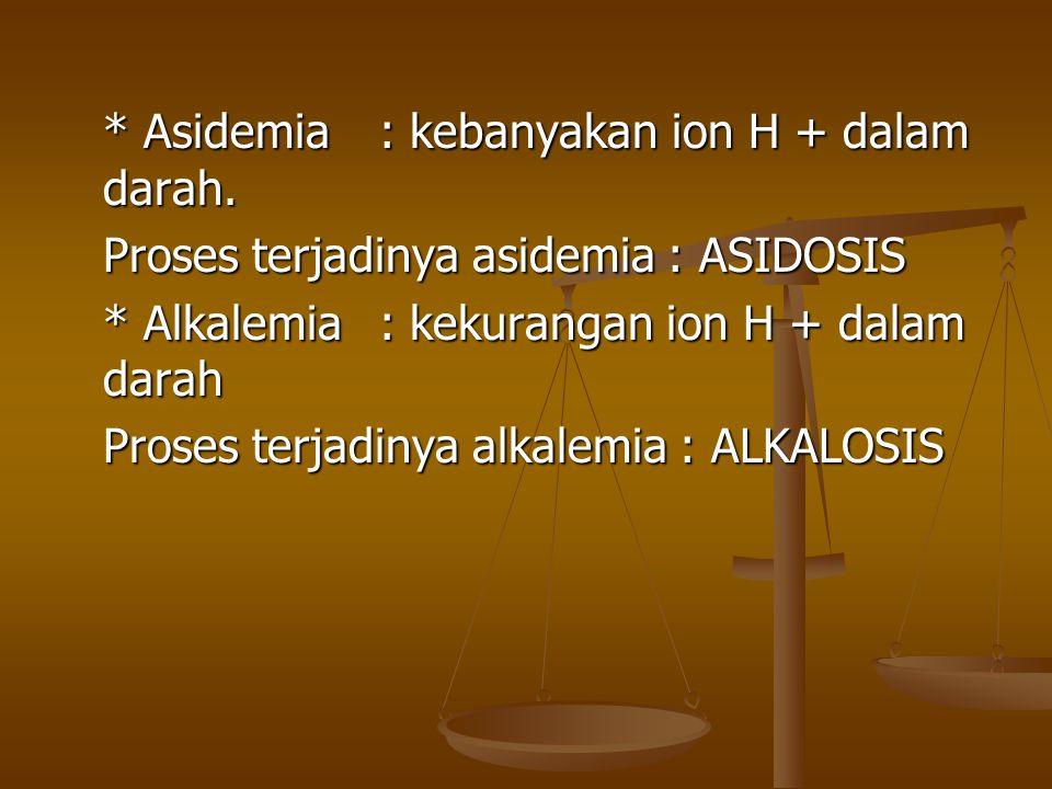 FAKTOR-FAKTOR YG MEMPENGARUHI KONSENTRASI H+ Pemberian asam melalui makanan Pemberian asam melalui makanan Penambahan secara endogen dari hasil metabolisme (laktat) Penambahan secara endogen dari hasil metabolisme (laktat) Penambahan secara endogen yang tidak fisiologis (DM) Penambahan secara endogen yang tidak fisiologis (DM) Pengeluaran asam/basa oleh ginjal dan usus Pengeluaran asam/basa oleh ginjal dan usus Pengeluaran CO2 oleh paru Pengeluaran CO2 oleh paru