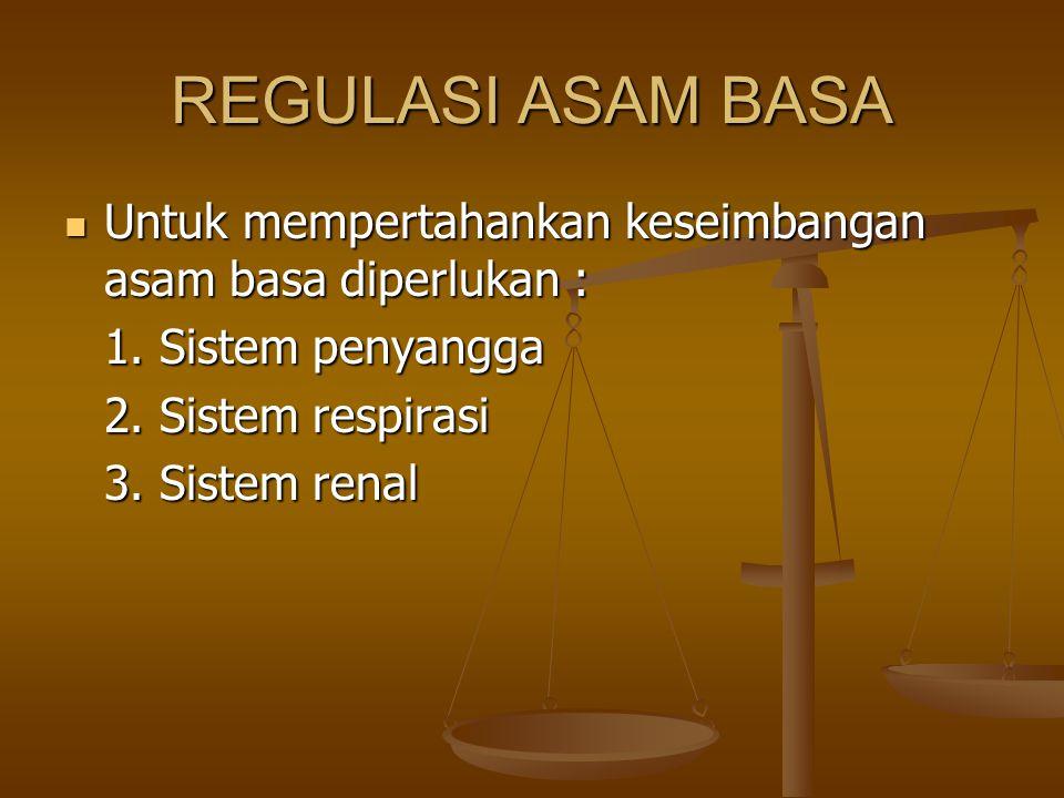 REGULASI ASAM BASA Untuk mempertahankan keseimbangan asam basa diperlukan : Untuk mempertahankan keseimbangan asam basa diperlukan : 1. Sistem penyang