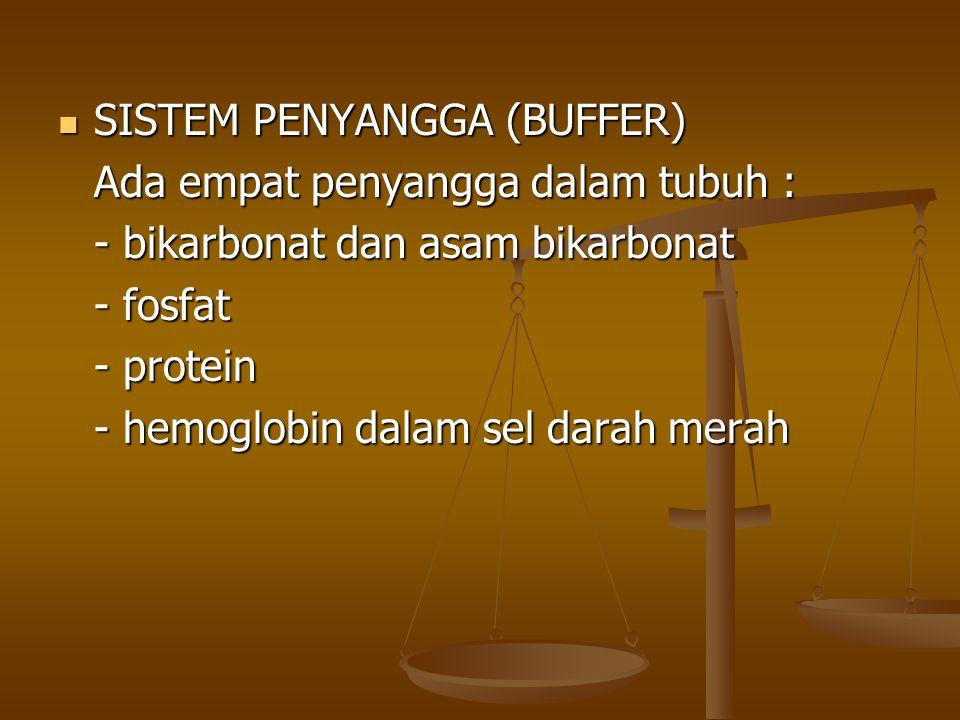 SISTEM PENYANGGA (BUFFER) SISTEM PENYANGGA (BUFFER) Ada empat penyangga dalam tubuh : - bikarbonat dan asam bikarbonat - fosfat - protein - hemoglobin