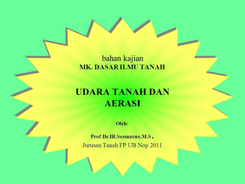 bahan kajian MK.DASAR ILMU TANAH UDARA TANAH DAN AERASI Oleh: Prof Dr.IR.Soemarno,M.S.
