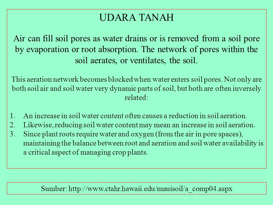 Kandungan O2 dan CO2 pada berbagai kedalaman tanah (Trinidad) Sumber: http://www.ctahr.hawaii.edu/mauisoil/a_comp04.aspx