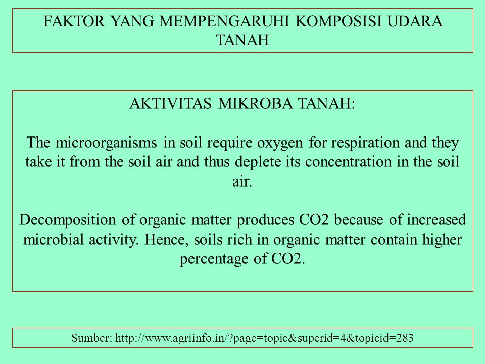 FAKTOR YANG MEMPENGARUHI KOMPOSISI UDARA TANAH Sumber: http://www.agriinfo.in/?page=topic&superid=4&topicid=283 JENIS TANAMAN: Plant roots require oxy