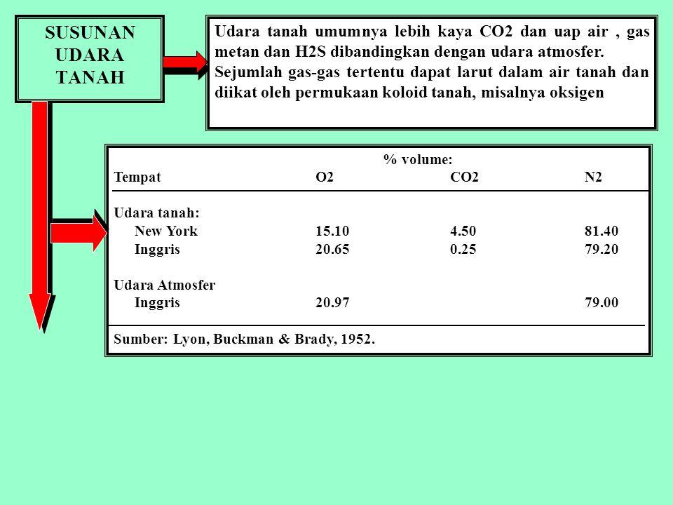 SUSUNAN UDARA TANAH % volume: TempatO2CO2N2 Udara tanah: New York15.104.5081.40 Inggris20.650.2579.20 Udara Atmosfer Inggris20.9779.00 Sumber: Lyon, Buckman & Brady, 1952.