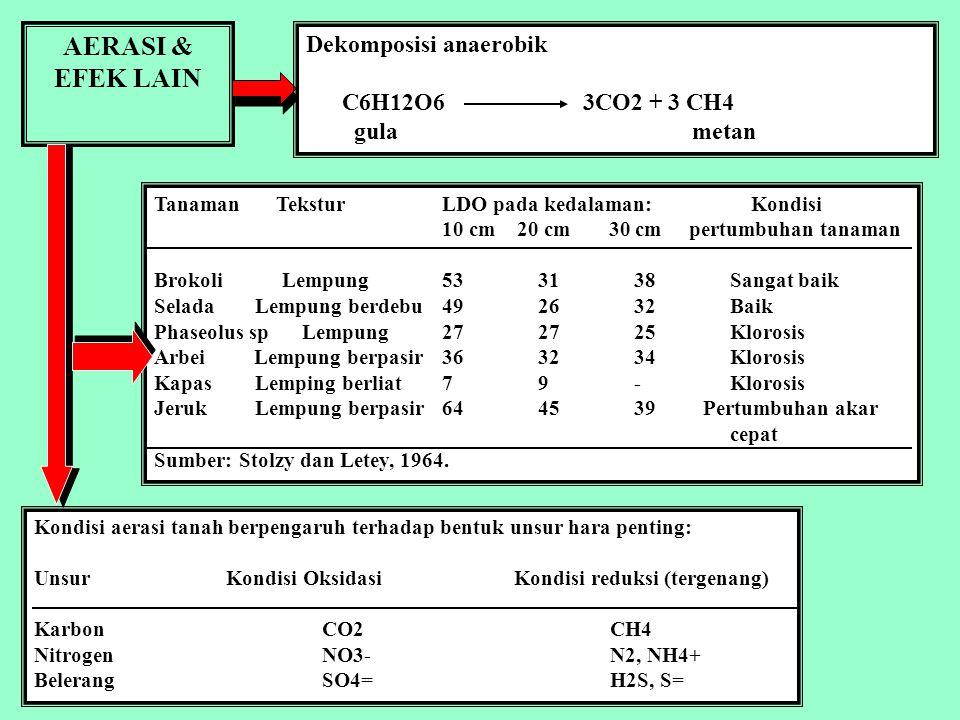 AERASI & KEGIATAN BIOLOGIS Aerasi b uruk mempengaruhi Tanaman: 1. Pertumbuhan perakaran sangat terbatas 2.Penyerapan hara terhambat 3.Air menjadi berk