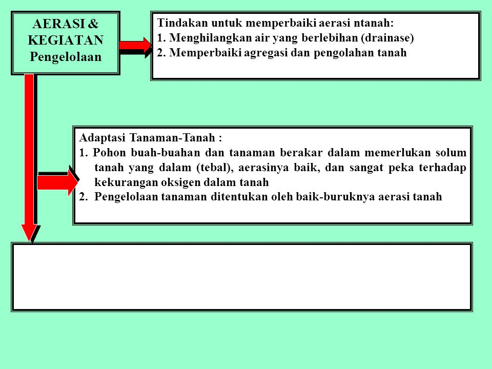 UDARA TANAH Air can fill soil pores as water drains or is removed from a soil pore by evaporation or root absorption.