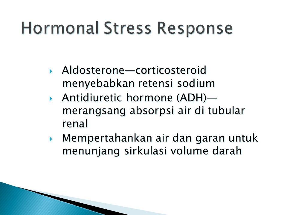  Aldosterone—corticosteroid menyebabkan retensi sodium  Antidiuretic hormone (ADH)— merangsang absorpsi air di tubular renal  Mempertahankan air da