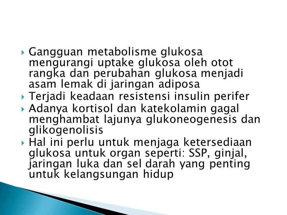  Gangguan metabolisme glukosa mengurangi uptake glukosa oleh otot rangka dan perubahan glukosa menjadi asam lemak di jaringan adiposa  Terjadi keada