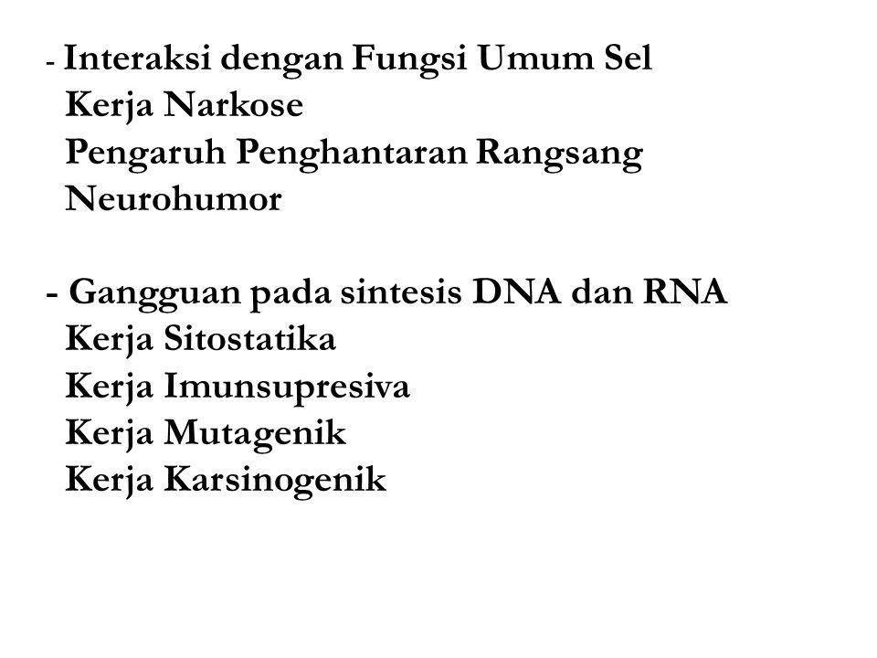 - Interaksi dengan Fungsi Umum Sel Kerja Narkose Pengaruh Penghantaran Rangsang Neurohumor - Gangguan pada sintesis DNA dan RNA Kerja Sitostatika Kerja Imunsupresiva Kerja Mutagenik Kerja Karsinogenik