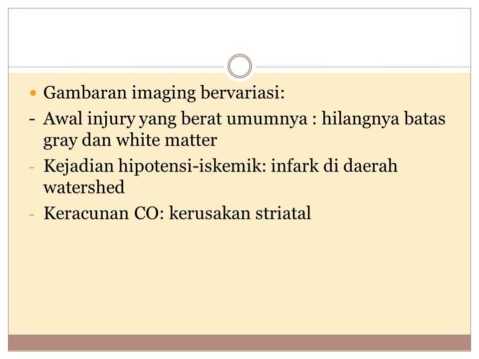 Gambaran imaging bervariasi: - Awal injury yang berat umumnya : hilangnya batas gray dan white matter - Kejadian hipotensi-iskemik: infark di daerah watershed - Keracunan CO: kerusakan striatal
