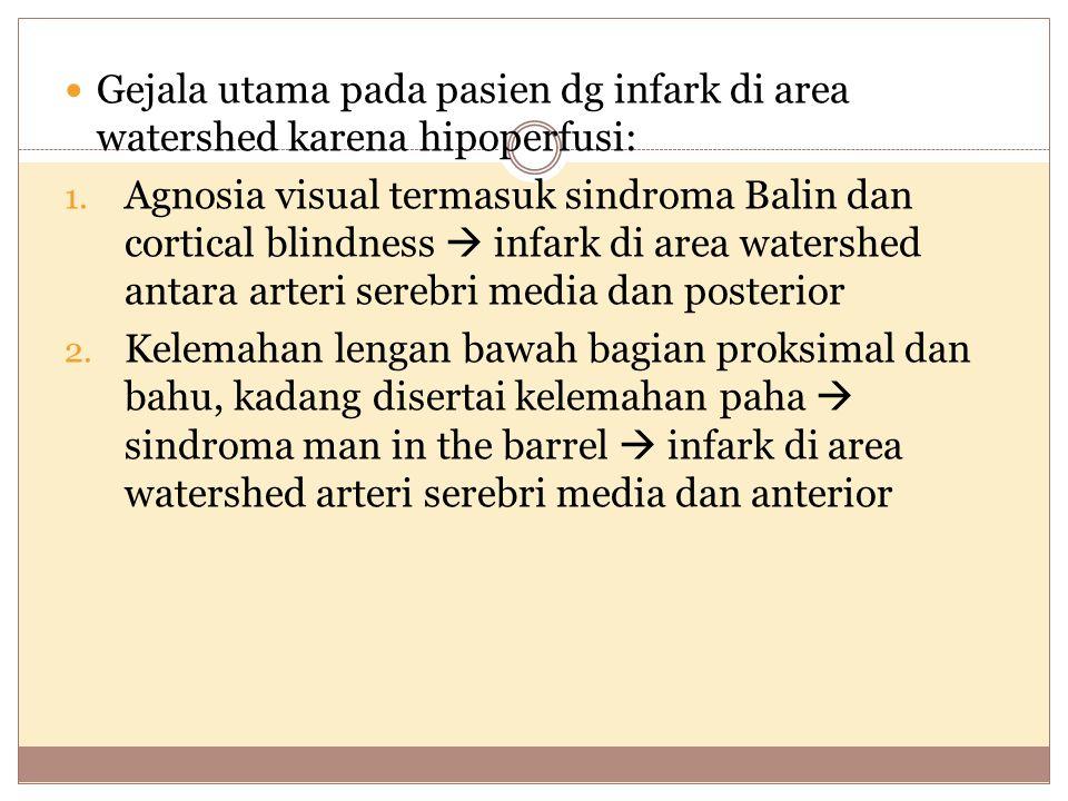 Gejala utama pada pasien dg infark di area watershed karena hipoperfusi: 1. Agnosia visual termasuk sindroma Balin dan cortical blindness  infark di