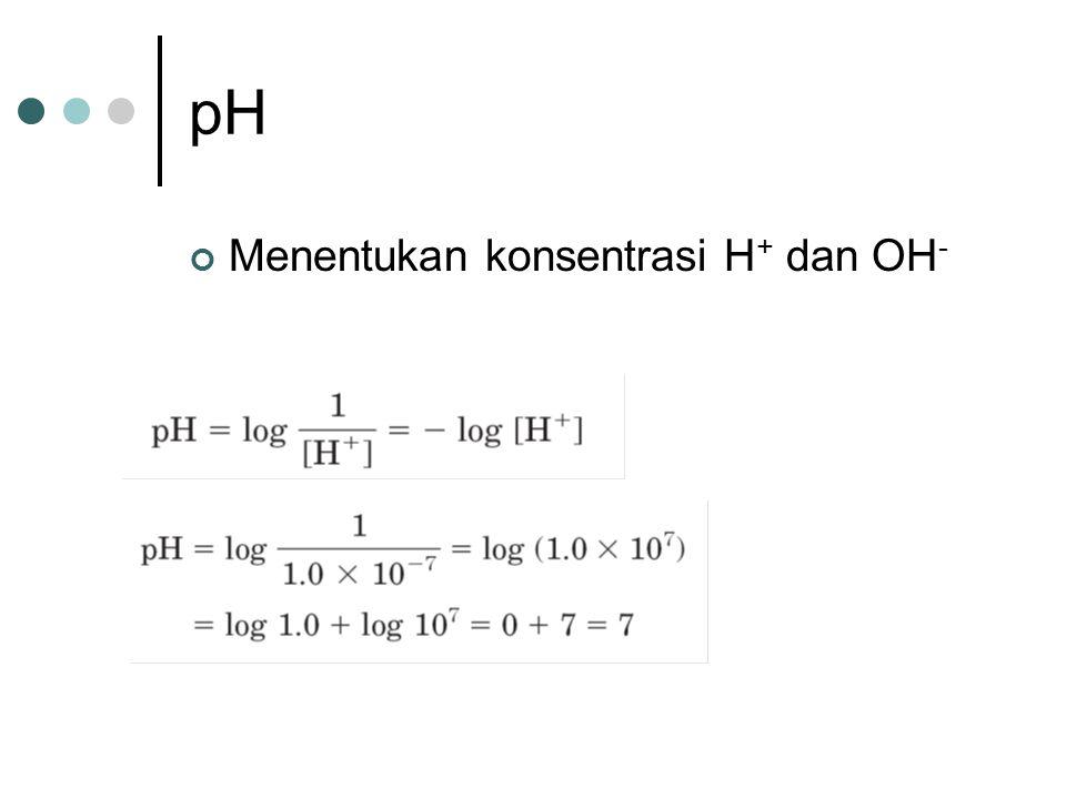 pH Menentukan konsentrasi H + dan OH -
