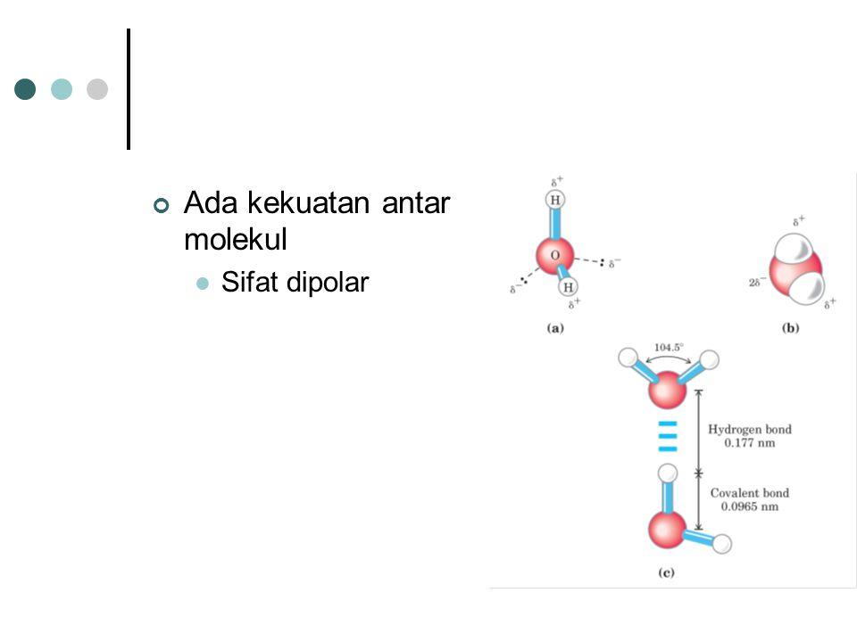 Ada kekuatan antar molekul Sifat dipolar