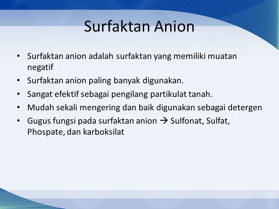 Surfaktan Anion Surfaktan anion adalah surfaktan yang memiliki muatan negatif Surfaktan anion paling banyak digunakan.