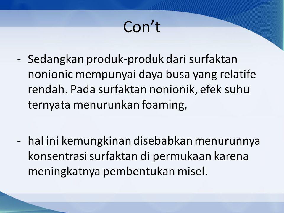 Con't -Sedangkan produk-produk dari surfaktan nonionic mempunyai daya busa yang relatife rendah.