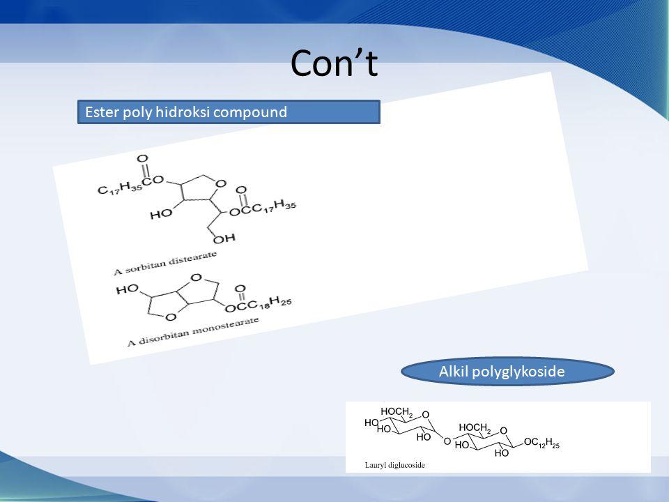 Con't Ester poly hidroksi compound Alkil polyglykoside