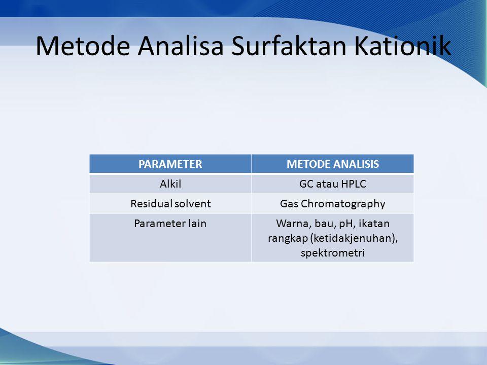 Metode Analisa Surfaktan Kationik PARAMETERMETODE ANALISIS AlkilGC atau HPLC Residual solventGas Chromatography Parameter lainWarna, bau, pH, ikatan rangkap (ketidakjenuhan), spektrometri