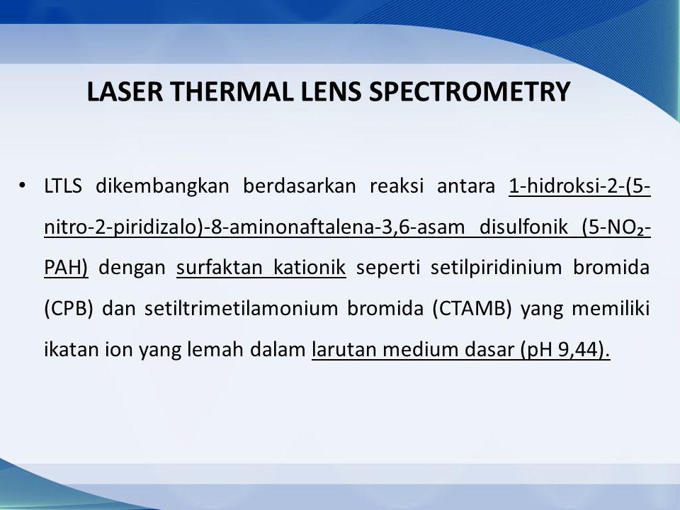 LASER THERMAL LENS SPECTROMETRY LTLS dikembangkan berdasarkan reaksi antara 1-hidroksi-2-(5- nitro-2-piridizalo)-8-aminonaftalena-3,6-asam disulfonik (5-NO₂- PAH) dengan surfaktan kationik seperti setilpiridinium bromida (CPB) dan setiltrimetilamonium bromida (CTAMB) yang memiliki ikatan ion yang lemah dalam larutan medium dasar (pH 9,44).