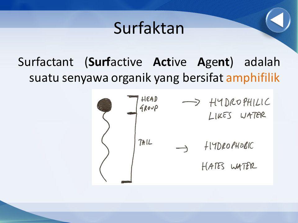 Surfaktan Surfactant (Surfactive Active Agent) adalah suatu senyawa organik yang bersifat amphifilik