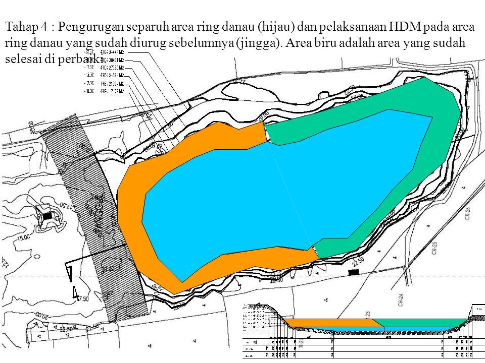 Tahap 4 : Pengurugan separuh area ring danau (hijau) dan pelaksanaan HDM pada area ring danau yang sudah diurug sebelumnya (jingga). Area biru adalah