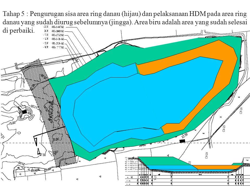 Tahap 5 : Pengurugan sisa area ring danau (hijau) dan pelaksanaan HDM pada area ring danau yang sudah diurug sebelumnya (jingga). Area biru adalah are