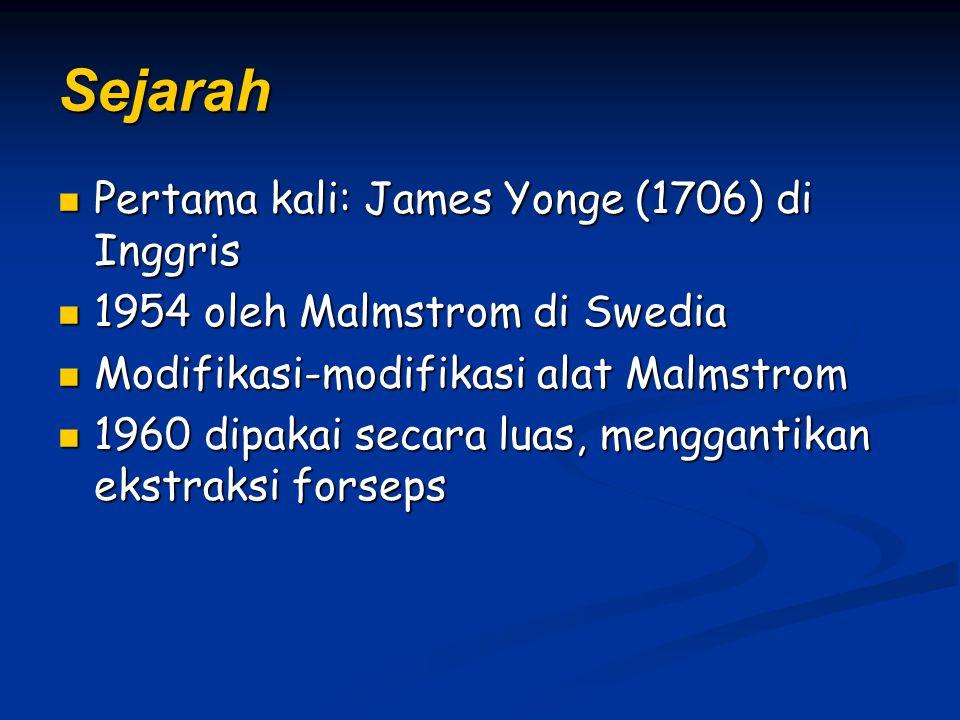 Sejarah Pertama kali: James Yonge (1706) di Inggris Pertama kali: James Yonge (1706) di Inggris 1954 oleh Malmstrom di Swedia 1954 oleh Malmstrom di Swedia Modifikasi-modifikasi alat Malmstrom Modifikasi-modifikasi alat Malmstrom 1960 dipakai secara luas, menggantikan ekstraksi forseps 1960 dipakai secara luas, menggantikan ekstraksi forseps