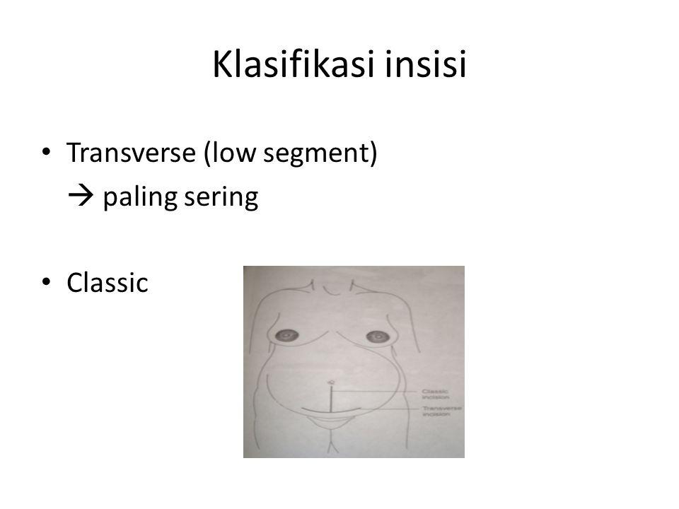 Klasifikasi insisi Transverse (low segment)  paling sering Classic