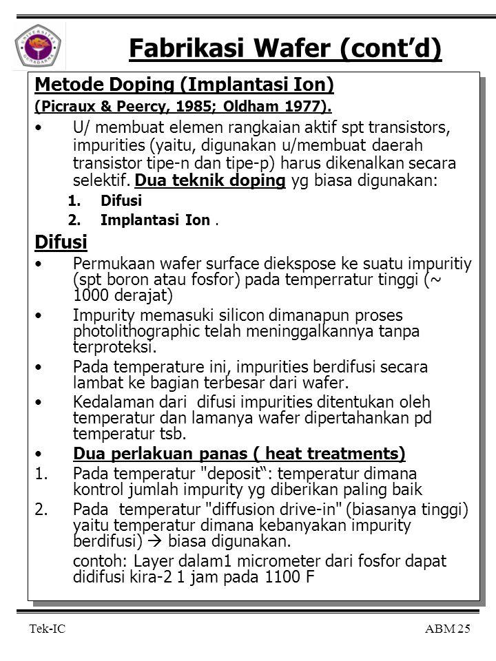 ABM 25 Tek-IC Fabrikasi Wafer (cont'd) Metode Doping (Implantasi Ion) (Picraux & Peercy, 1985; Oldham 1977). U/ membuat elemen rangkaian aktif spt tra