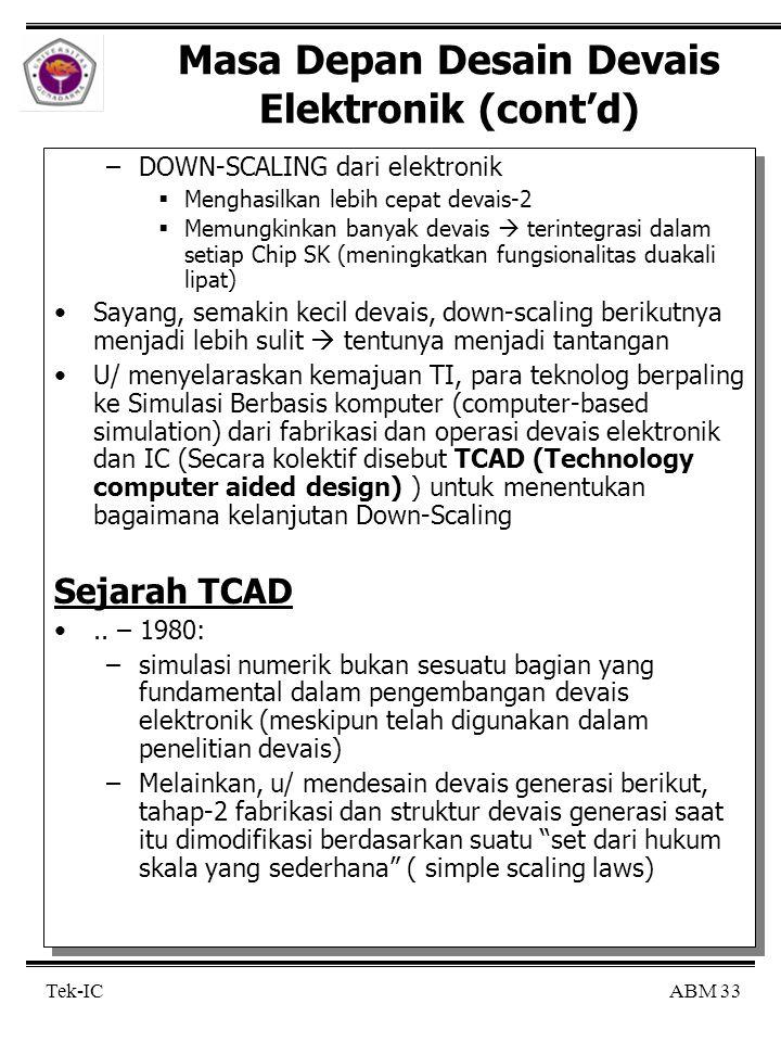 ABM 33 Tek-IC Masa Depan Desain Devais Elektronik (cont'd) –DOWN-SCALING dari elektronik  Menghasilkan lebih cepat devais-2  Memungkinkan banyak devais  terintegrasi dalam setiap Chip SK (meningkatkan fungsionalitas duakali lipat) Sayang, semakin kecil devais, down-scaling berikutnya menjadi lebih sulit  tentunya menjadi tantangan U/ menyelaraskan kemajuan TI, para teknolog berpaling ke Simulasi Berbasis komputer (computer-based simulation) dari fabrikasi dan operasi devais elektronik dan IC (Secara kolektif disebut TCAD (Technology computer aided design) ) untuk menentukan bagaimana kelanjutan Down-Scaling Sejarah TCAD..