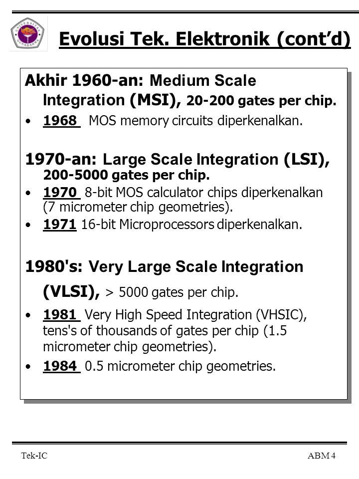 ABM 4 Tek-IC Evolusi Tek. Elektronik (cont'd) Akhir 1960-an: Medium Scale Integration (MSI), 20-200 gates per chip. 1968 MOS memory circuits diperkena