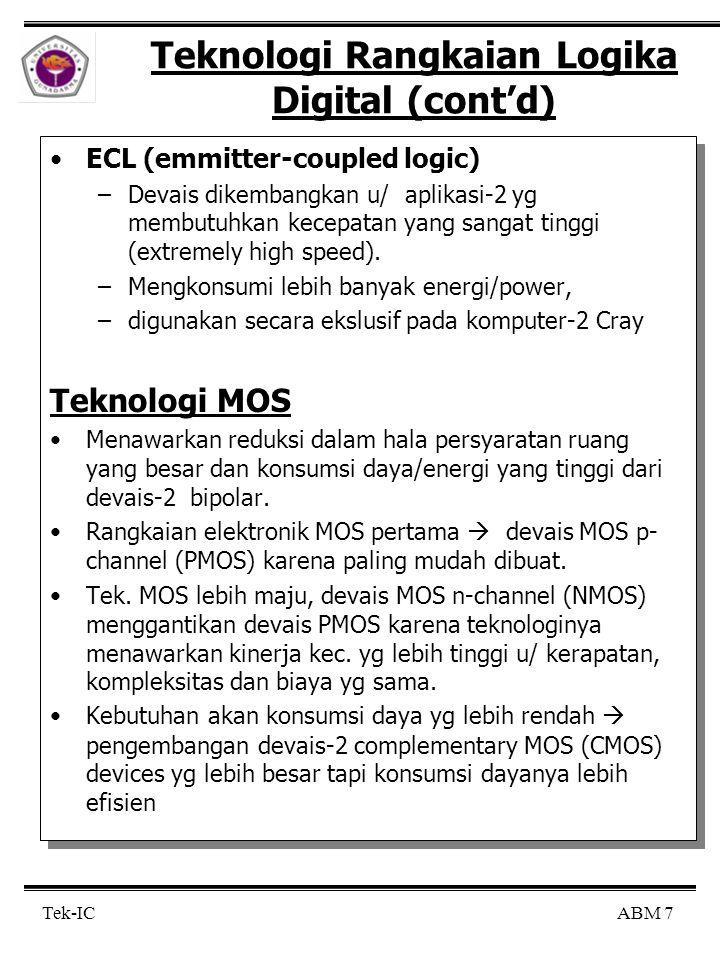 ABM 8 Tek-IC Teknologi Rangkaian Logika Digital (cont'd) Meskipun keuntungan kerapatan dan efisiensi daya dari teknologi MOS, namun teknologi high-speed bipolar masih tetap dikembangakn  teknologi biCMOS : kombinasi keuntungan kecepatan dari tek.