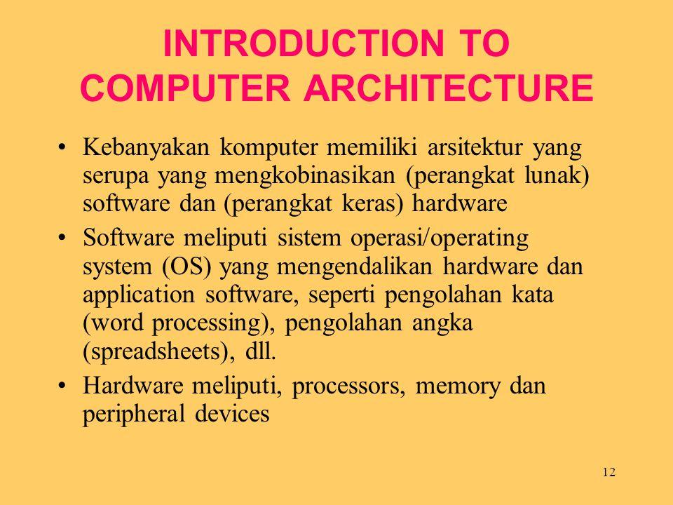 12 INTRODUCTION TO COMPUTER ARCHITECTURE Kebanyakan komputer memiliki arsitektur yang serupa yang mengkobinasikan (perangkat lunak) software dan (pera
