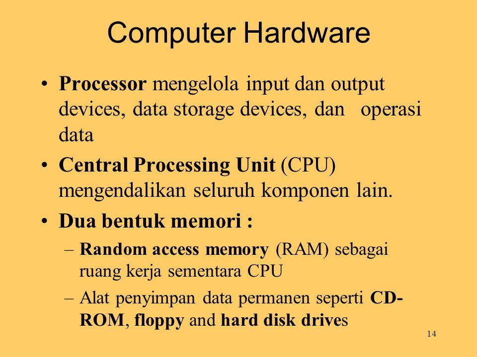 14 Computer Hardware Processor mengelola input dan output devices, data storage devices, dan operasi data Central Processing Unit (CPU) mengendalikan