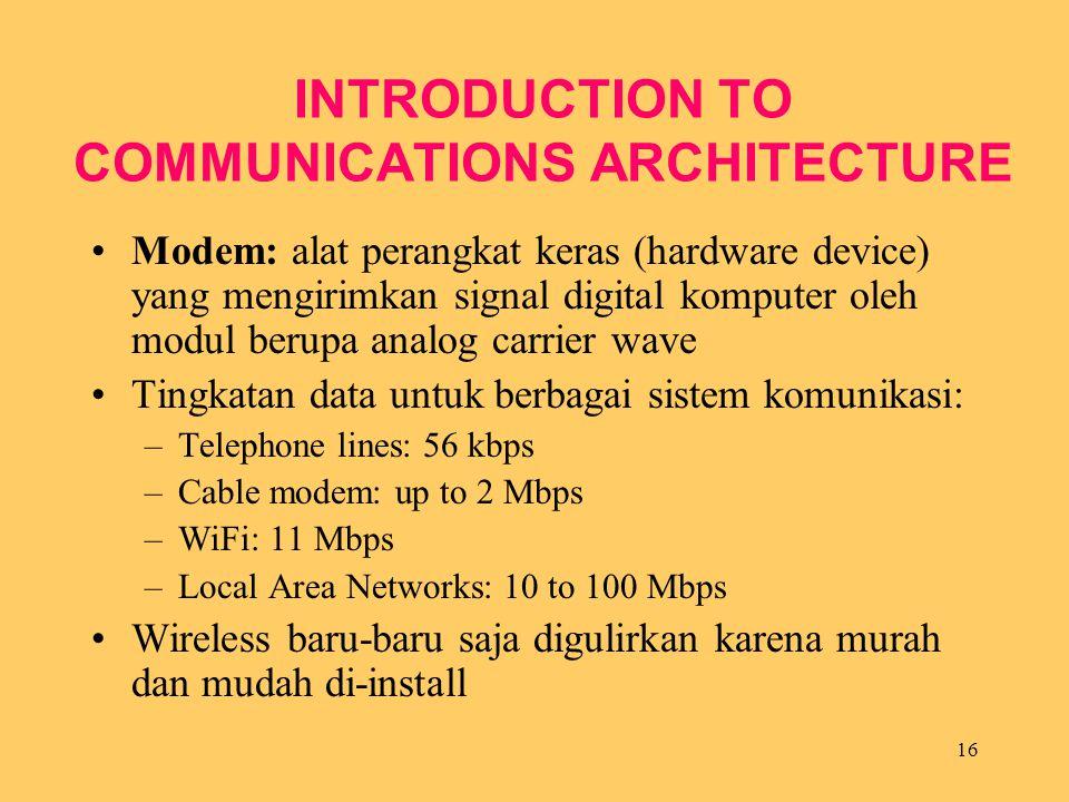 16 INTRODUCTION TO COMMUNICATIONS ARCHITECTURE Modem: alat perangkat keras (hardware device) yang mengirimkan signal digital komputer oleh modul berup