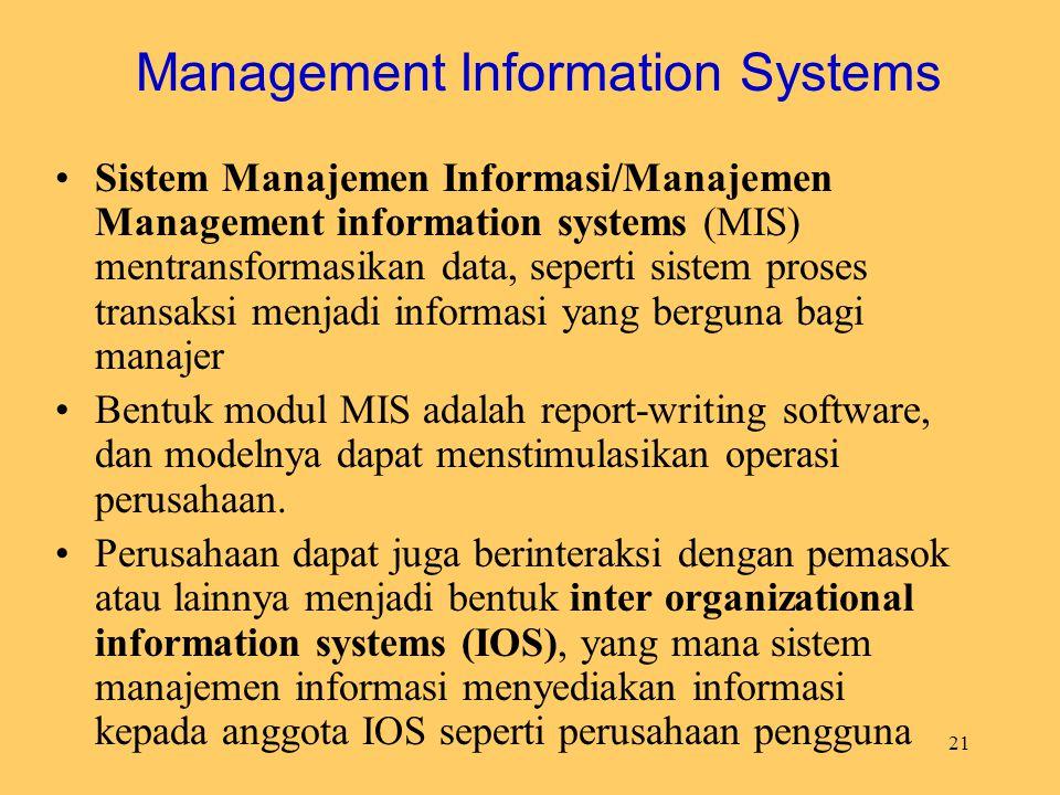 21 Management Information Systems Sistem Manajemen Informasi/Manajemen Management information systems (MIS) mentransformasikan data, seperti sistem pr