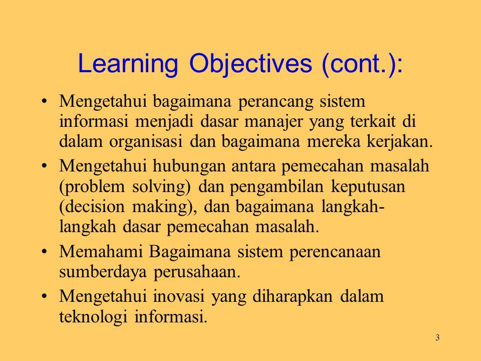 3 Learning Objectives (cont.): Mengetahui bagaimana perancang sistem informasi menjadi dasar manajer yang terkait di dalam organisasi dan bagaimana me