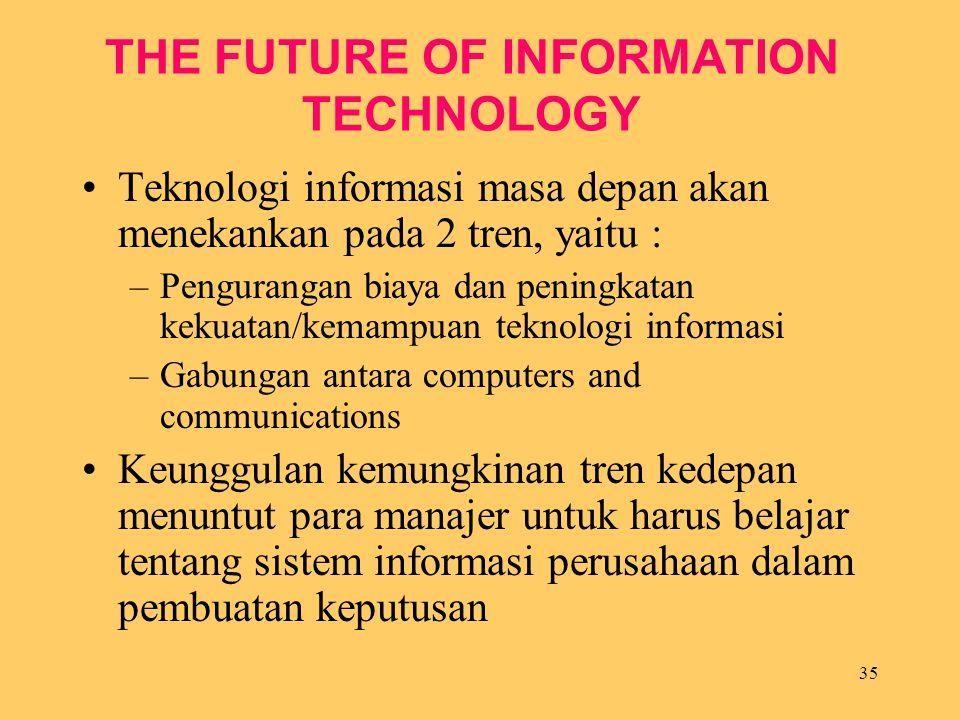 35 THE FUTURE OF INFORMATION TECHNOLOGY Teknologi informasi masa depan akan menekankan pada 2 tren, yaitu : –Pengurangan biaya dan peningkatan kekuata