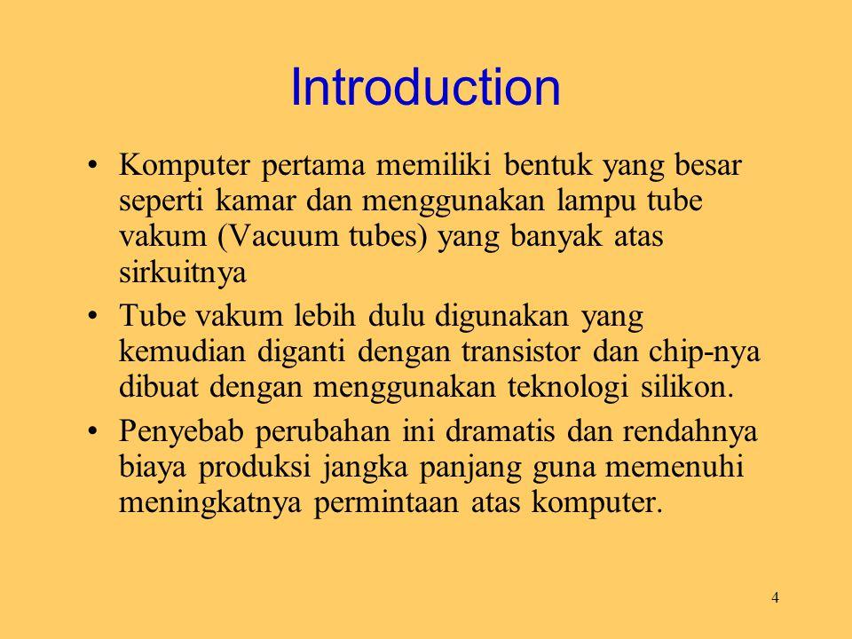 4 Introduction Komputer pertama memiliki bentuk yang besar seperti kamar dan menggunakan lampu tube vakum (Vacuum tubes) yang banyak atas sirkuitnya T