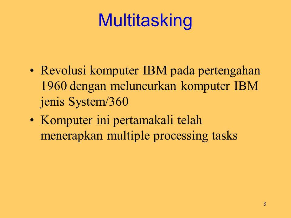 8 Multitasking Revolusi komputer IBM pada pertengahan 1960 dengan meluncurkan komputer IBM jenis System/360 Komputer ini pertamakali telah menerapkan