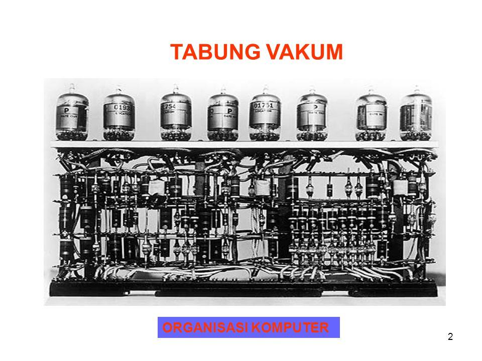 3 ORGANISASI KOMPUTER CIRI-CIRI ENIAC : 1.BERAT 30 TON 2.VOLUME 15.000 KAKI PERSEGI 3.BERISI LEBH DAR 18.000 TABUNG VAKUM 4.MEMBUTUHKAN DAYA LISTRIK 140 KILOWATT 5.MAMPU MELAKUKAN 5000 OPERASI PENAMBAHAN PER DETIK