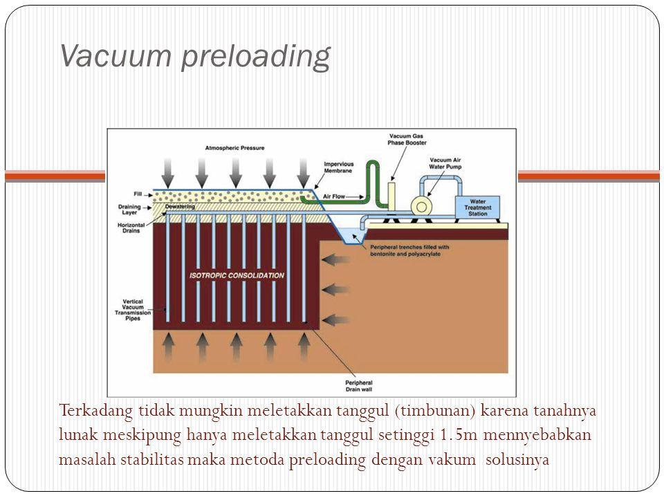 Vacuum preloading Terkadang tidak mungkin meletakkan tanggul (timbunan) karena tanahnya lunak meskipung hanya meletakkan tanggul setinggi 1.5m mennyeb